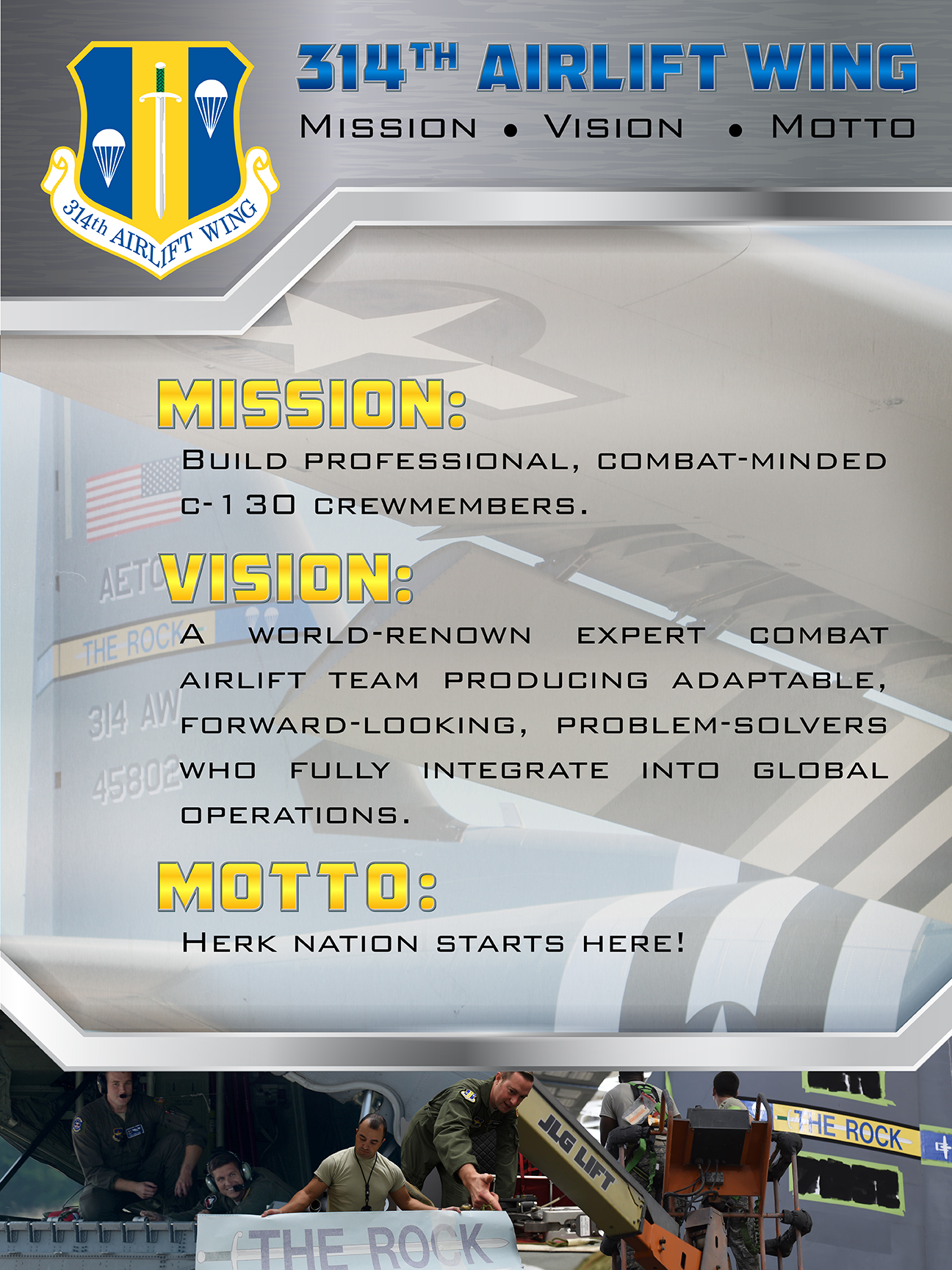 314th Mission and Vision poster, gray steel background with 314th patch in upper left