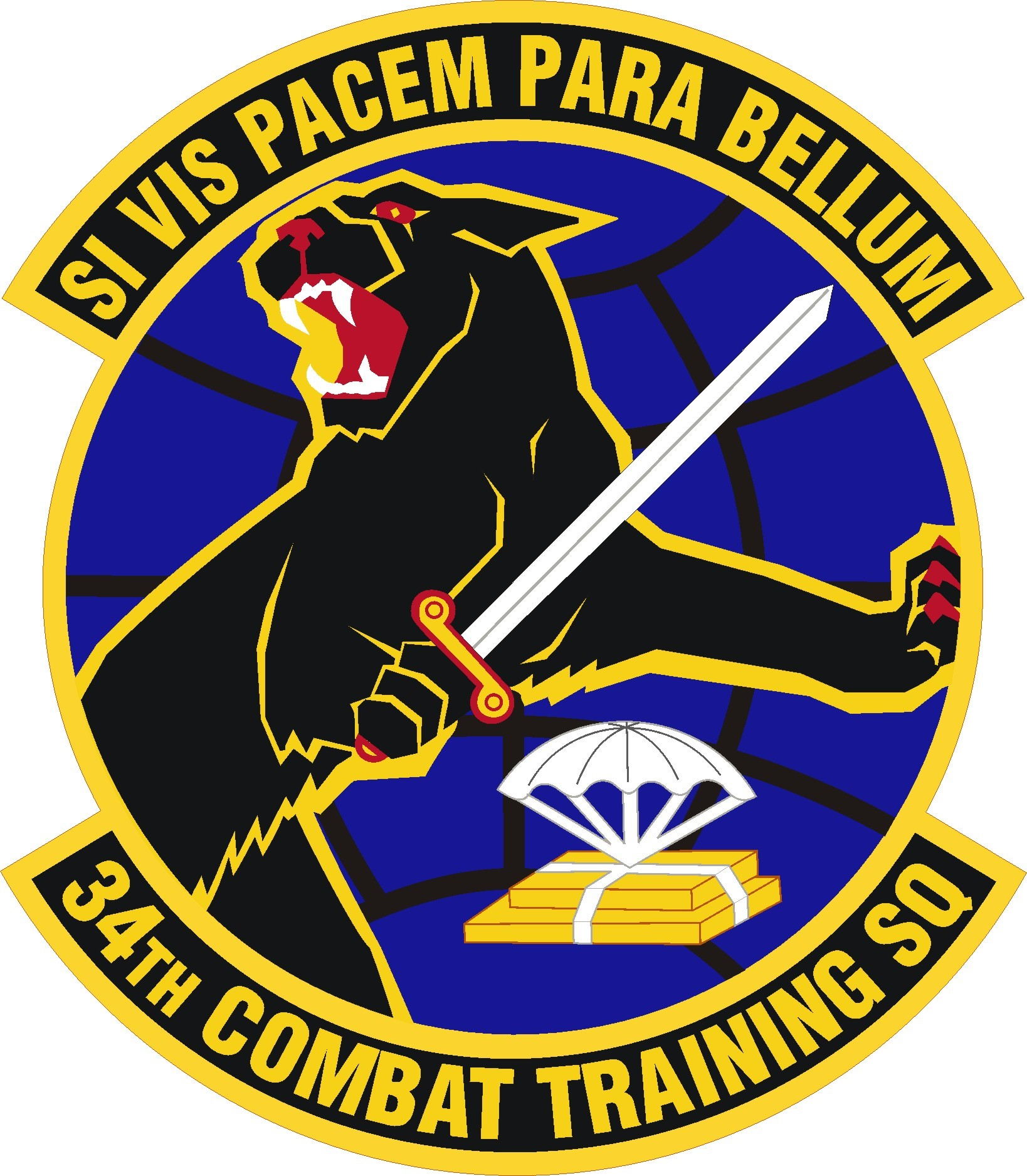 Black cat with sword on patch for 34th CTS