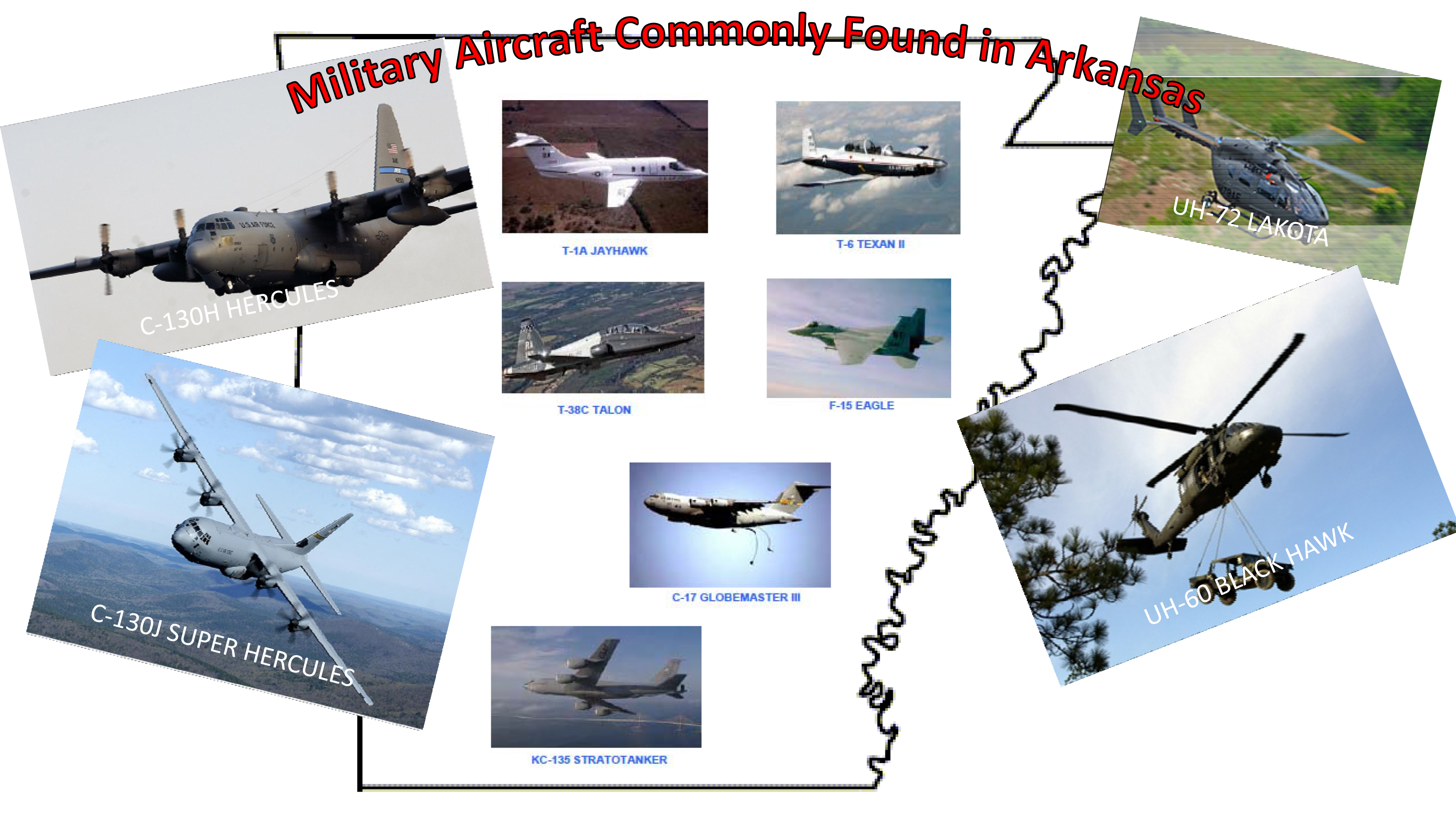 Poster of military planes throughout Arkansas