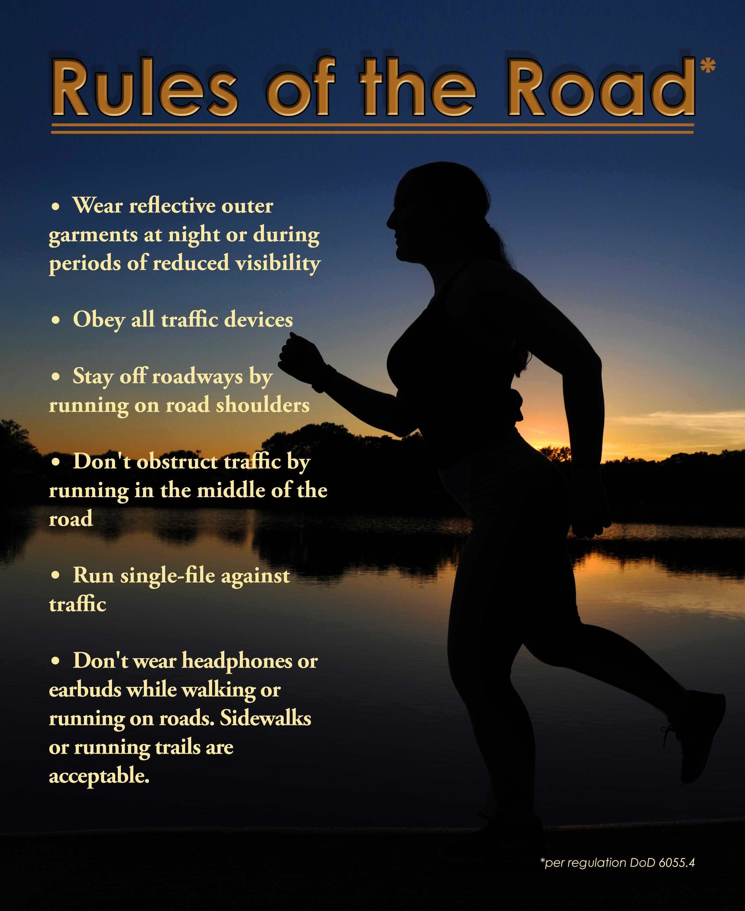 Picture of woman jogging at dusk with rules of safe jogging lining the page in front of her.